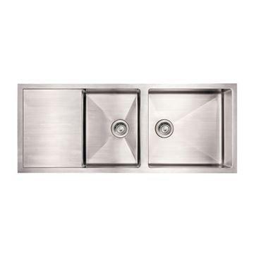 Whitehaus Noah 51 1 2 Inch Reversible Double Bowl Drainboard Kitchen Sink