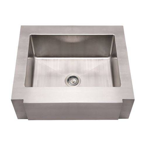 Whitehaus Noah Stainless Notched Apron Single Bowl Kitchen Sink ...