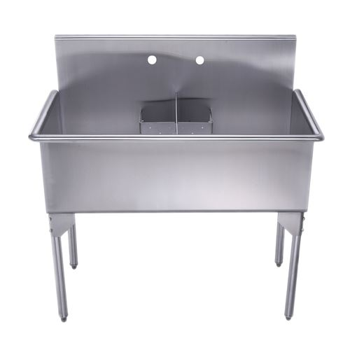 Superbe Whitehaus Pearlhaus Stainless Steel Double Freestanding Utility Sink