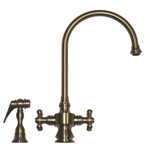 Whitehaus Vintage Cross Handle Gooseneck Kitchen Faucet