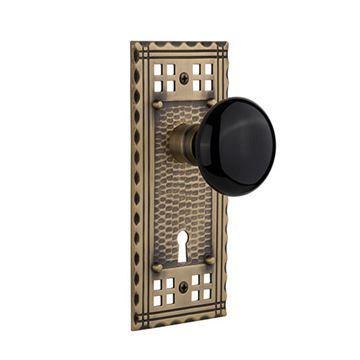 Nostalgic Warehouse Craftsman Plate With Keyhole Door Set With Black Porcelain Knobs