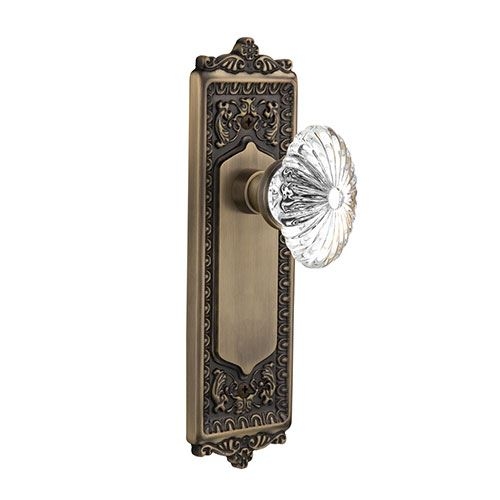 Nostalgic Warehouse Egg & Dart Plate Door Set With Oval Fluted Crystal Glass Knobs