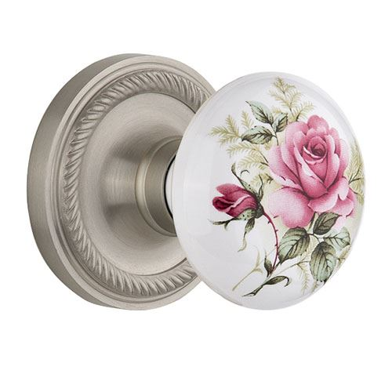 Nostalgic Warehouse Rope Rosette Door Set With White Rose Porcelain Knobs