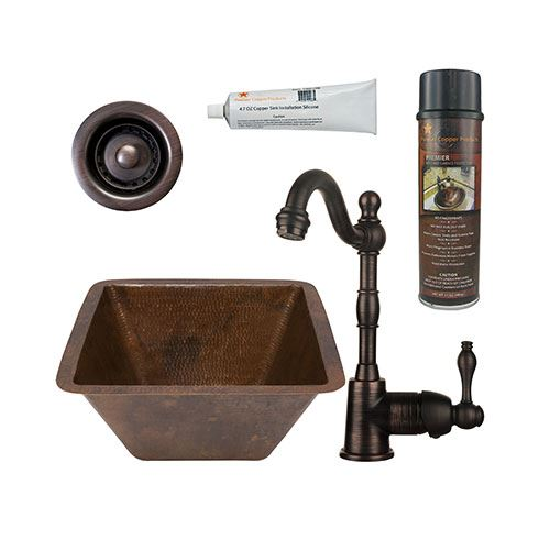 Premier Copper BSP4_BS15FDB2-B 15 Inch Square Hammered Copper Bar Prep Sink & Faucet Package