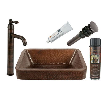 Premier Copper 17 Inch Rectangle Skirted Hammered Copper Vessel Sink & Faucet Package BSP1_VREC17SKDB