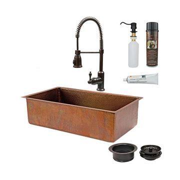 Premier Copper KSP4_KSB33199 33 Inch Antique Copper Kitchen Single Bowl Sink & Faucet Package