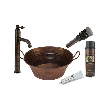 Premier Copper Oval Bucket Hammered Copper Vessel Sink & Faucet Package