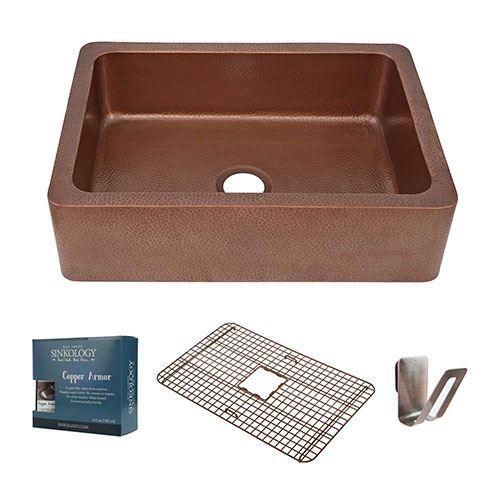 Sinkology Adams 33 Inch Single Bowl Farmhouse Copper Kitchen Sink Kit
