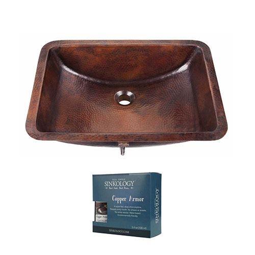 Sinkology Curie 21 Inch Undermount Copper Bathroom Sink with Overflow Kit