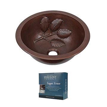 Sinkology Newton Leaf 14 Inch Dual Mount Copper Bathroom ...