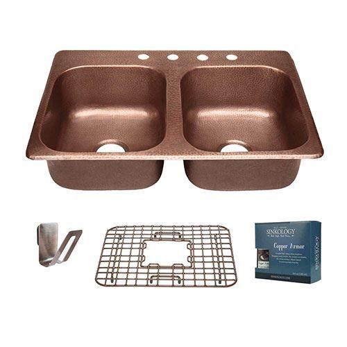 Sinkology Raphael 33 Inch Double Drop In Copper Kitchen Sink Kit