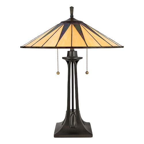 Charmant Quoizel TF6668VB Gotham Tiffany Glass Table Lamp   Vintage Bronze