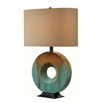 kenroy home 32184cg sesame table lamp teal ceramic glaze van