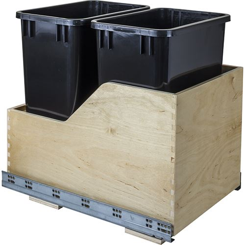 restorers preassemble wood 35 qt double pullout waste can kit. Black Bedroom Furniture Sets. Home Design Ideas