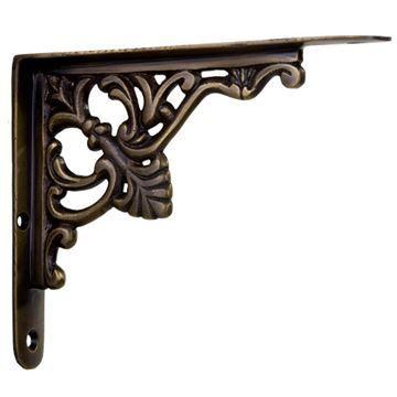 Restorers Fleur De Lis Brass Shelf Bracket