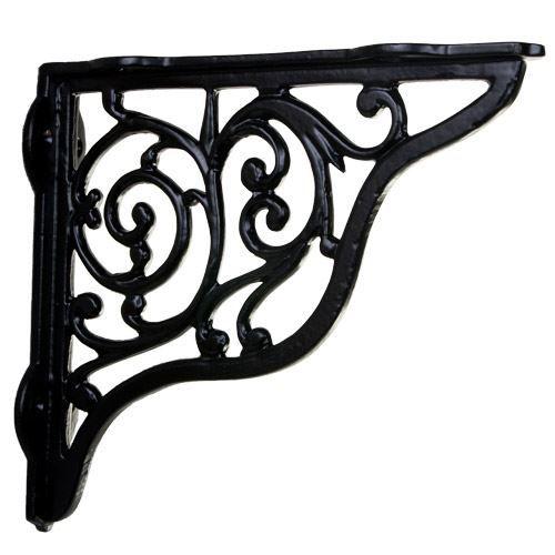 Hooks, Brackets & Curtain Rods 2 SCROLLING Black Cast Iron WALL BRACKETS CORNER BRACKETS PLANT HANGERS
