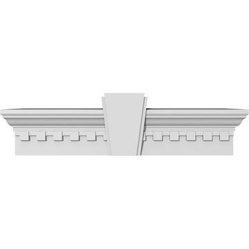 Restorers Architectural Urethane Crosshead With Deco Keystone & Dentil