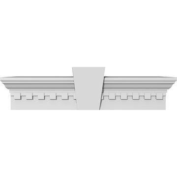 Restorers Architectural Urethane Crosshead With Flat Keystone & Dentil