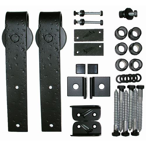 Acorn Rough Square End Rolling Barn Door Hardware Kit - No Track