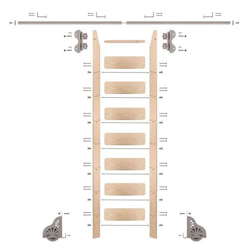 Quiet Glide Maple Library Ladder & 8 Ft Rolling Hardware Kit