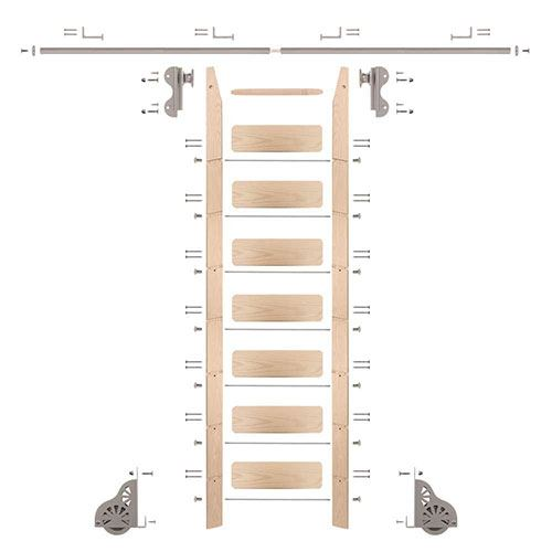 Quiet Glide Maple Library Ladder & 8 Ft Rolling Hook Hardware Kit