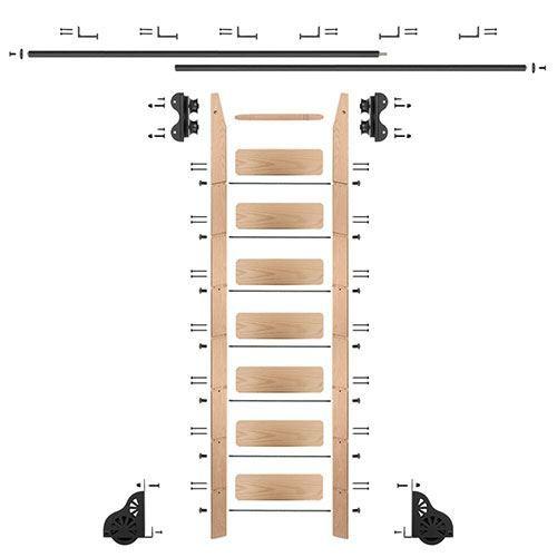 Quiet Glide Oak Library Ladder & 12 Ft Rolling Hardware Kit