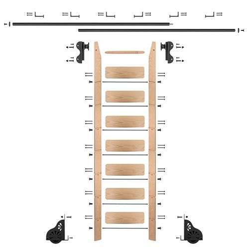 Quiet Glide Oak Library Ladder & 12 Ft Rolling Hook Hardware Kit