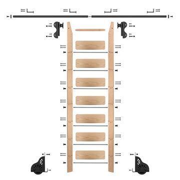 Quiet Glide Oak Library Ladder & 8 Ft Rolling Hook Hardware Kit