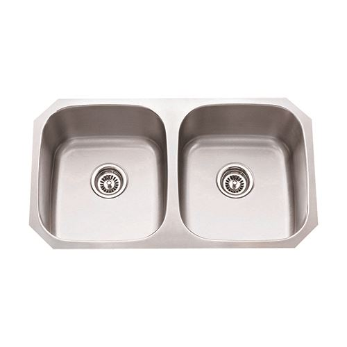 Hardware Resources 16 Gauge Stainless Double Bowl Kitchen Sink