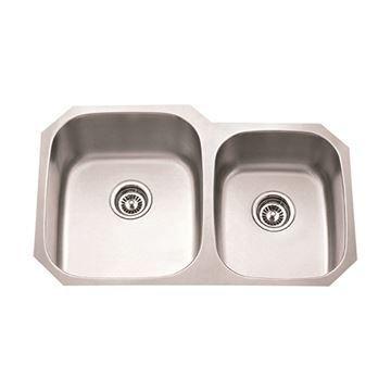 Hardware Resources 18 Gauge 32 Inch Double Bowl Offset Kitchen Sink