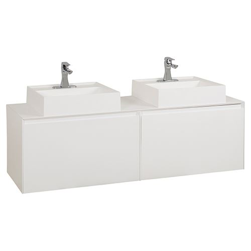 Jeffrey Alexander Costrel 60 Inch White Double Wall Mount Vanity