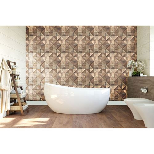 Restorers Architectural Authentic Boat Wood Mosaic Wall Tile