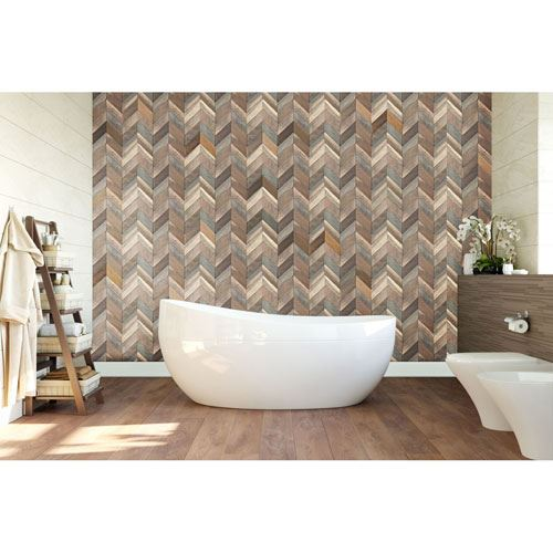 Restorers Architectural Chevron Boat Wood Mosaic Wall Tile