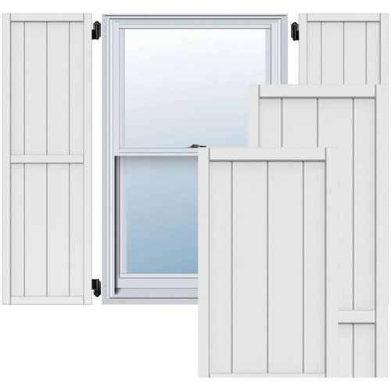 Restorers Architectural Framed Board-n-Batten PVC Shutters - Pair