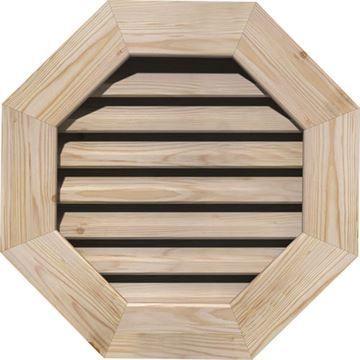 Restorers Architectural Octagonal Pine Flat Trim Frame Gable Vent