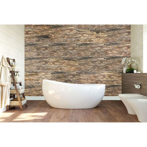 Restorers Architectural Stacked Boat Wood Mosaic Wall Tile
