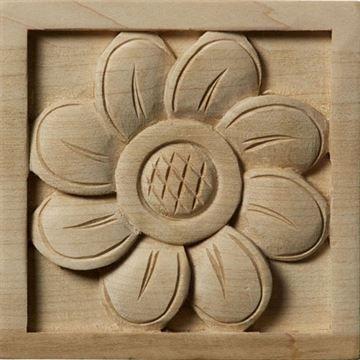Restorers Architectural Sunflower Rosette Square Applique