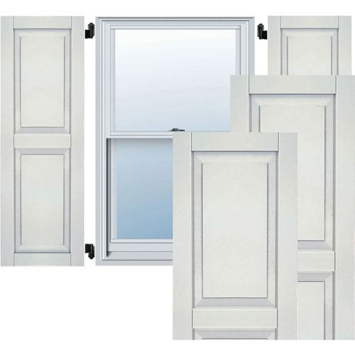 Restorers Architectural Two Equal Raised Panel PVC Shutters - Pair