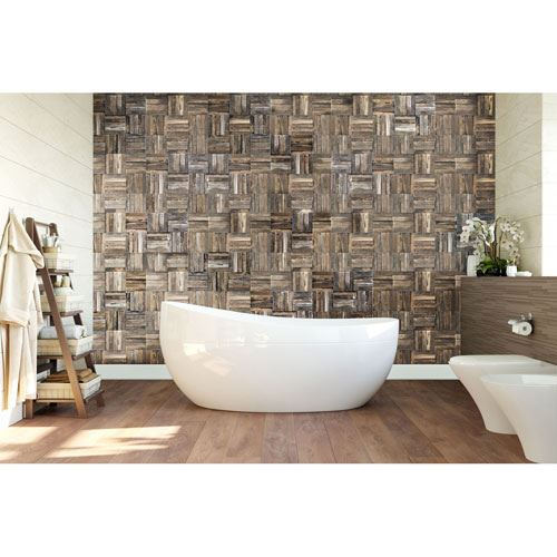 Restorers Architectural Weave Boat Wood Mosaic Wall Tile