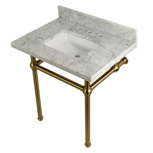 Restorers Templeton Marble Console Sink - Brushed Brass Legs - Square