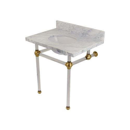 Restorers Templeton Marble Console Sink - Clear & Brushed Brass - Oval