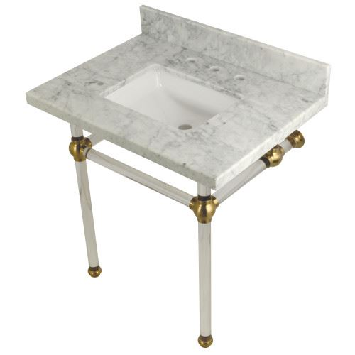 Restorers Templeton Marble Console Square Sink - Clear & Brushed Brass