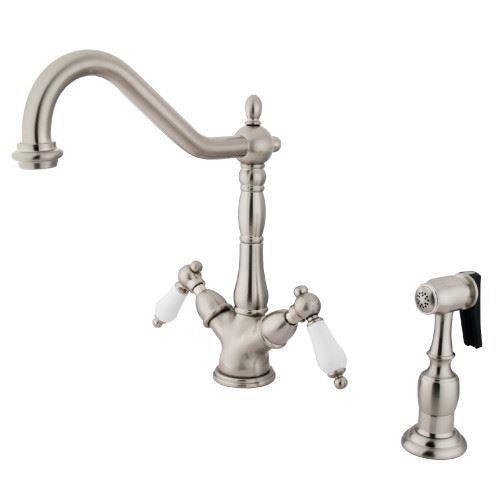 Restorers Heritage KS123XPLBS-P Two Handle Single Hole Kitchen Faucet