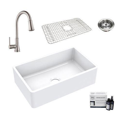 Sinkology Turner All-In-One Farmhouse Fireclay Kitchen Sink Package