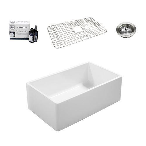 Sinkology Ward Farmhouse 33 Inch Single Fireclay Kitchen Sink Package