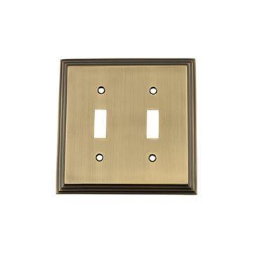 Nostalgic Warehouse Deco Double Toggle Switch Plate